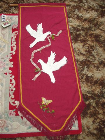 Cloth Banner with doves made for The Wedding of Kurt & Rosemary by Paulene Smith