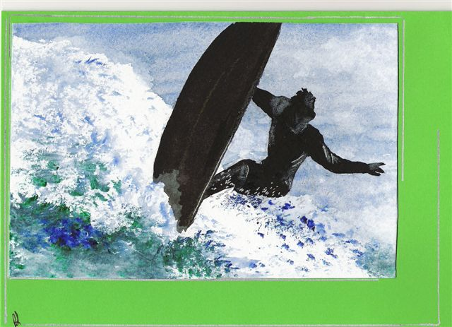 Painting Surfer on a wave by Paulene Smith