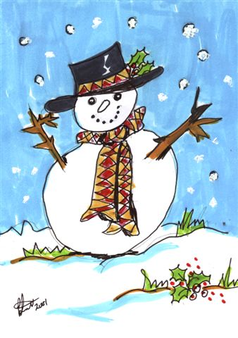 Snow man for a Christmas Card by Paulene Smith