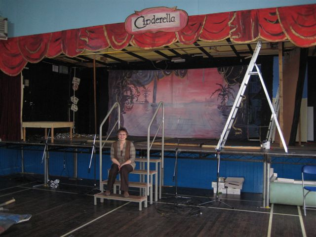Paulene in front of the Set Cinderella Torpoint Players January 08