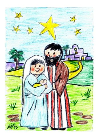 Nativity scene for a Christmas Card