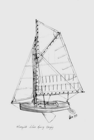 Pencil drawing of a Mosquito Dinghy an original was given to the Bénodet Twinning by Paulene Smith